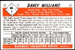 1953 Bowman Reprints #1   Davey Williams Back Thumbnail