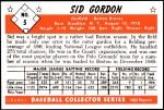 1953 Bowman Reprints #5   Sid Gordon Back Thumbnail