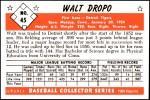 1953 Bowman Reprints #45  Walt Dropo  Back Thumbnail