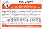 1953 Bowman Reprints #112   Toby Atwell Back Thumbnail
