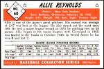 1953 Bowman Reprints #68   Allie Reynolds Back Thumbnail