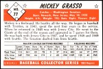 1953 Bowman Reprints #77   Mickey Grasso Back Thumbnail