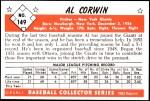 1953 Bowman Reprints #149  Al Corwin  Back Thumbnail