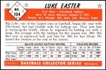 1953 Bowman Reprints #104  Luke Easter  Back Thumbnail