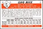 1953 Bowman Reprints #115  Cloyd Boyer  Back Thumbnail
