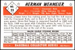 1953 Bowman Reprints #23  Herm Wehmeier  Back Thumbnail