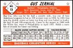 1953 Bowman Reprints #13   Gus Zernial Back Thumbnail