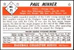 1953 Bowman Reprints #71  Paul Minner  Back Thumbnail
