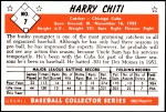 1953 Bowman Reprints #7  Harry Chiti  Back Thumbnail