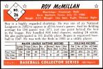 1953 Bowman Reprints #26  Roy McMillan  Back Thumbnail