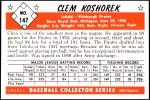 1953 Bowman Reprints #147  Clem Koshorek  Back Thumbnail