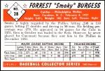 1953 Bowman Reprints #28  Smoky Burgess  Back Thumbnail