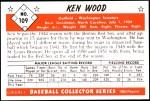 1953 Bowman Reprints #109   Ken Wood Back Thumbnail
