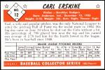 1953 Bowman Reprints #12  Carl Erskine  Back Thumbnail
