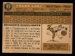 1960 Topps #85  Frank Lary  Back Thumbnail
