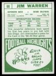 1968 Topps #66  Jim Warren  Back Thumbnail