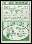 1968 Topps #124  Nick Buoniconti  Back Thumbnail