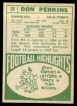 1968 Topps #50  Don Perkins  Back Thumbnail