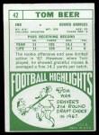1968 Topps #42  Tom Beer  Back Thumbnail