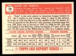 1952 Topps Reprints #70  Al Zarilla  Back Thumbnail