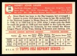 1952 Topps Reprints #35  Hank Sauer  Back Thumbnail