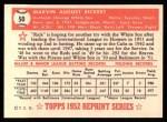 1952 Topps Reprints #50  Marv Rickert  Back Thumbnail