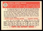 1952 Topps Reprints #275   Pat Mullin Back Thumbnail