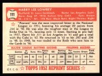 1952 Topps Reprints #111   Peanuts Lowrey Back Thumbnail