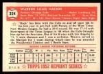 1952 Topps Reprints #324  Warren Hacker  Back Thumbnail