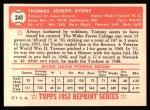 1952 Topps Reprints #241  Tommy Byrne  Back Thumbnail
