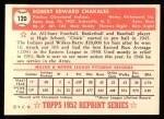 1952 Topps Reprints #120  Bob Chakales  Back Thumbnail