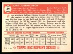 1952 Topps Reprints #89  Johnny Lipon  Back Thumbnail