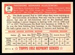 1952 Topps Reprints #29   Ted Kluszewski Back Thumbnail