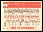 1952 Topps Reprints #34  Elmer Valo  Back Thumbnail