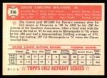 1952 Topps Reprints #316  Dave Williams  Back Thumbnail