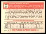 1952 Topps Reprints #145  Joe Haynes  Back Thumbnail