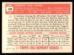 1952 Topps Reprints #139   Ken Wood Back Thumbnail