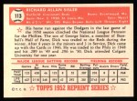 1952 Topps Reprints #113   Dick Sisler Back Thumbnail