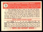 1952 Topps Reprints #171  Ed Erautt  Back Thumbnail