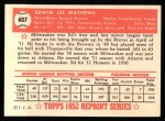 1952 Topps Reprints #407   Eddie Mathews Back Thumbnail
