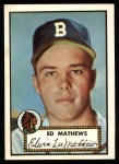 1952 Topps Reprints #407   Eddie Mathews Front Thumbnail