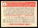 1952 Topps Reprints #76  Eddie Stanky  Back Thumbnail