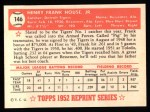 1952 Topps Reprints #146  Frank House  Back Thumbnail