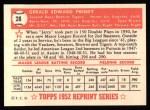 1952 Topps Reprints #28   Jerry Priddy Back Thumbnail