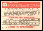 1952 Topps Reprints #382  Sam Jones  Back Thumbnail
