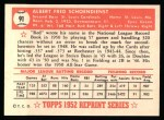 1952 Topps Reprints #91  Red Schoendienst  Back Thumbnail