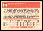 1952 Topps Reprints #195  Minnie Minoso  Back Thumbnail
