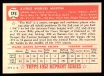 1952 Topps Reprints #175  Billy Martin  Back Thumbnail