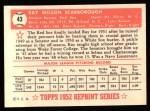 1952 Topps Reprints #43  Ray Scarborough  Back Thumbnail