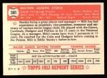 1952 Topps Reprints #381  Milton Stock  Back Thumbnail
